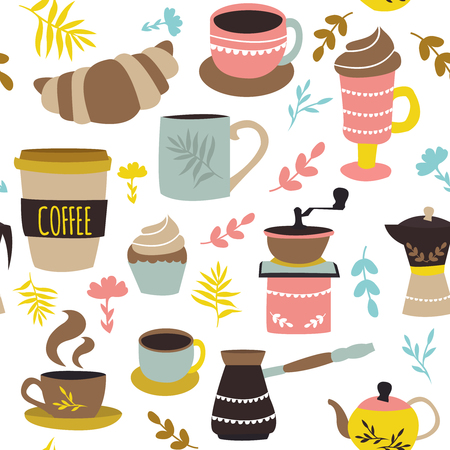 Coffee and pastry seamless pattern with cups pot grinder croissant colorful leaves on white background vector illustration Illustration