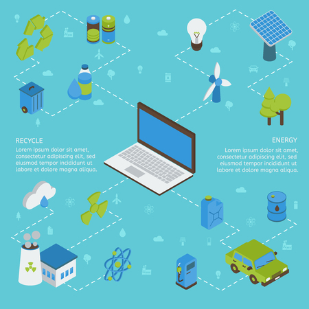 cloud computer: Ecology isometric infographics with computer green energy factory batteries on blue background with flat signs vector illustration Illustration
