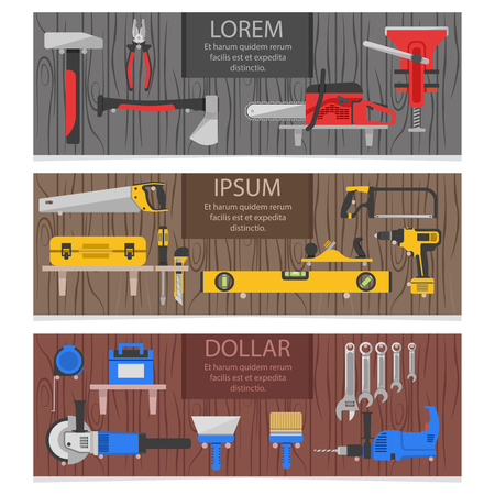 plumb: Work tools horizontal banners set with colored instruments for carpenter on wood texture background isolated vector illustration