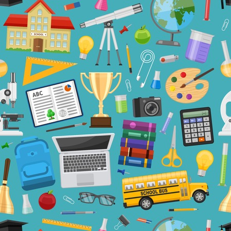 computer education: School education seamless pattern with computer bus building stationery laboratory equipment on blue background vector illustration Illustration