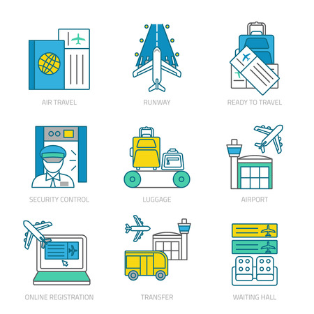 airport security: Airport linear elements set with customs and security services transter luggage and travel documents isolated vector illustration Illustration