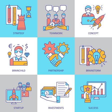 different goals: Teamwork linear colored icons with business cooperation for achievement of different goals isolated vector illustration
