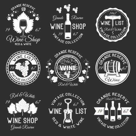 black grape: Wine monochrome emblems with grape berries and leaves corkscrews packaging ribbon on black background isolated vector illustration