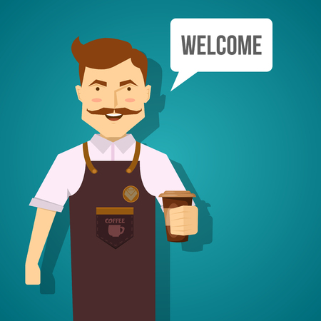 barista: Barista character design with smiling mustached man in brown apron with coffee on blue background vector illustration