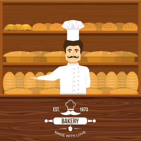 mustached: Baker behind counter design with mustached man and wooden shelves of bread in background vector illustration