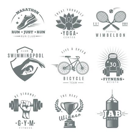 wimbledon: Gray isolated fitness gym label set with marathon run club tennis Wimbledon jab boxing descriptions vector illustration Illustration