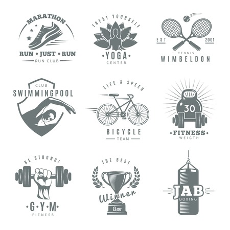 Gray isolated fitness gym label set with marathon run club tennis Wimbledon jab boxing descriptions vector illustration Illustration