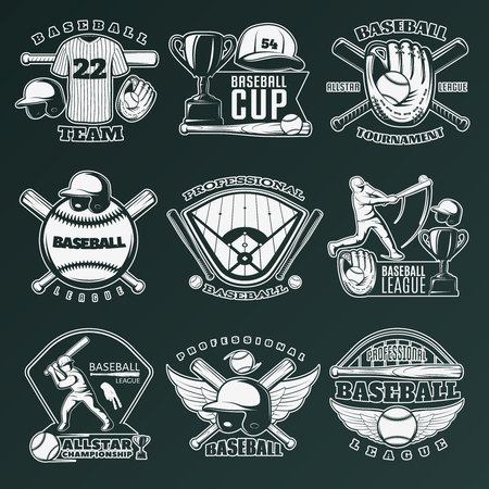 competitions: Baseball monochrome emblems of teams and competitions with sports equipment on black background isolated vector illustration