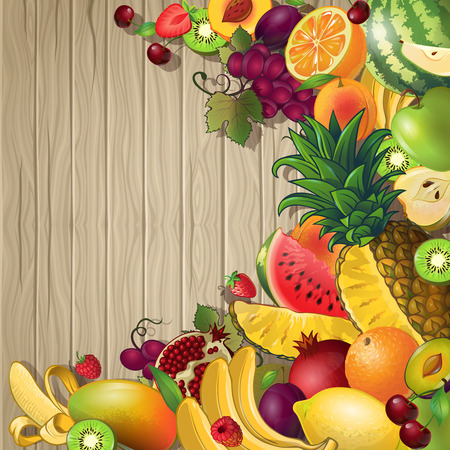 fond: Fruits colored background with set of different fruits and berries on wooden fond vector illustration Illustration