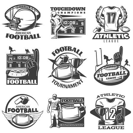 canadian football: American football black white emblems with player trophy foam hand sports clothing and equipment isolated vector illustration