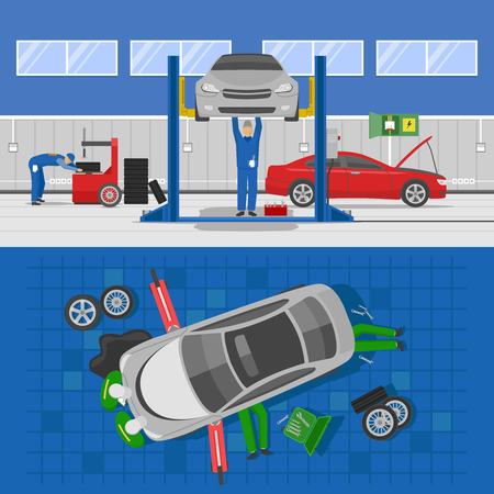 tire cover: Auto service compositions with workshop interior and repair of car of view from top isolated vector illustration Illustration