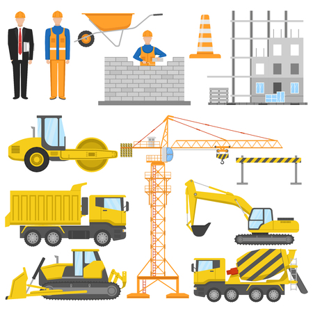 Construction flat elements set with architect and worker building machinery and materials barrier system isolated vector illustration