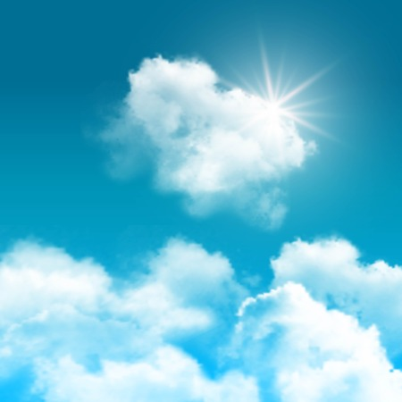 Realistic blue sky with clouds composition rays of sun peek out from behind the clouds vector illustration