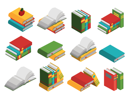 Colored school books isometric icon set closed and open lying and standing on the side vector illustration Illustration