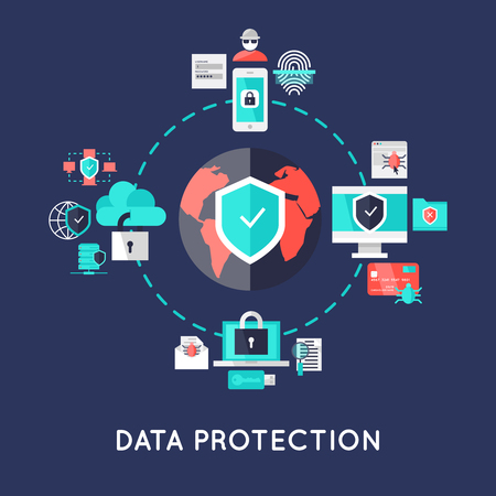 protection devices: Data protection international system design with earth in center secure devices around on blue background vector illustration