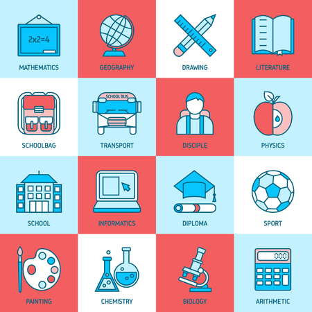 pupil: Education linear icons with school subjects building bus pupil on blue red white backgrounds isolated vector illustration