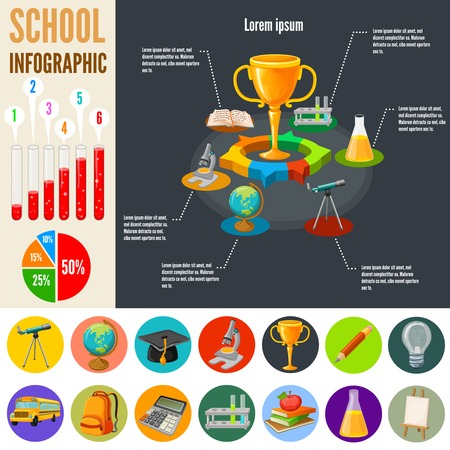 acquisition: School infographics template with acquisition of knowledge design on black background education icons diagrams statistics vector illustration