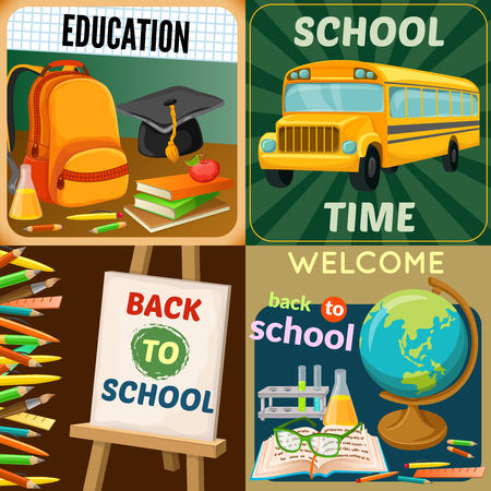 art supplies: School education compositions with art supplies yellow bus academic disciplines backpack textbooks and stationery isolated vector illustration