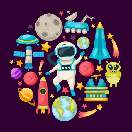 Space colored composition with icon set composed in round on cosmic theme vector illustration Ilustração