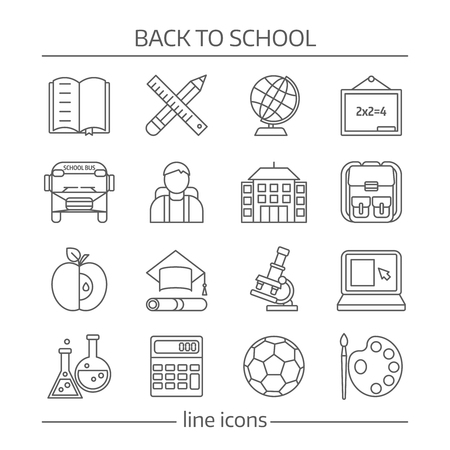 microscope isolated: School monochrome linear icons set with building bus blackboard pupil laptop calculator backpack microscope isolated vector illustration