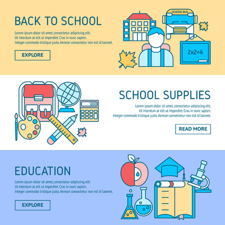 disciplines: Education horizontal linear banners with back to school student supplies scientific disciplines isolated vector illustration