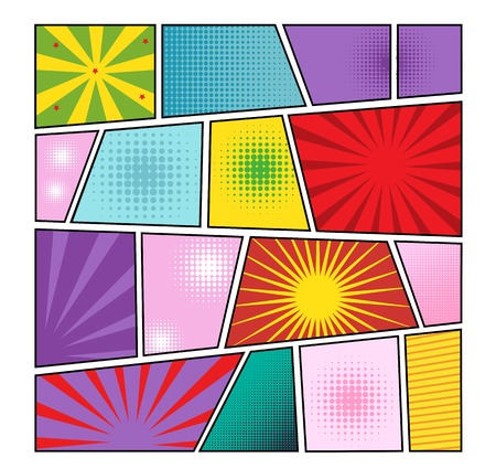 sunbeams: Comics page background with colorful frames of individual design with separate dots pattern and sunbeams vector illustration Illustration