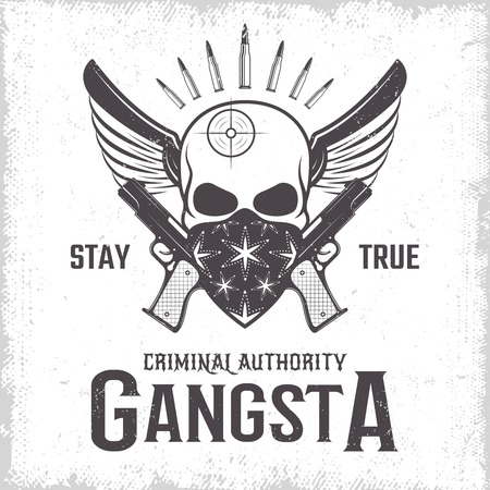 gangster background: Gangster monochrome print with emblem of winged skull with weapon and bandana on worn background vector illustration
