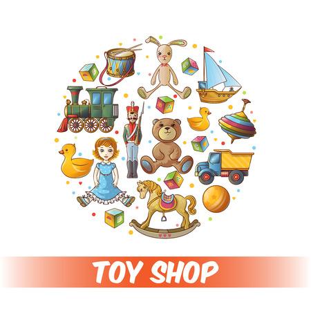 Kinder-Spielzeug Runde Komposition mit isolierten farbige Icon-Set in großen Kreis Vektor-Illustration kombiniert