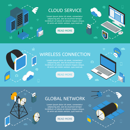 wireless connection: Wireless technology horizontal isometric banners with cloud service wifi connection global network isolated vector illustration