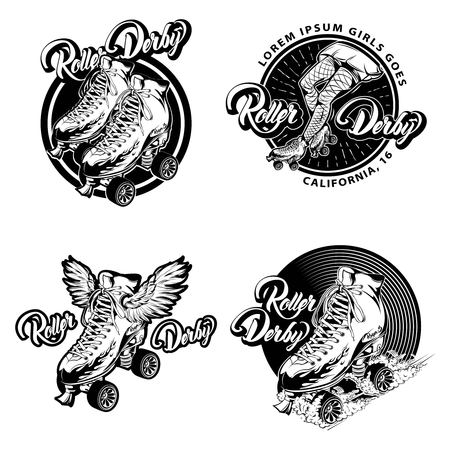 laced: Roller derby monochrome emblems with calligraphic lettering and quad skates with laced boots isolated vector illustration