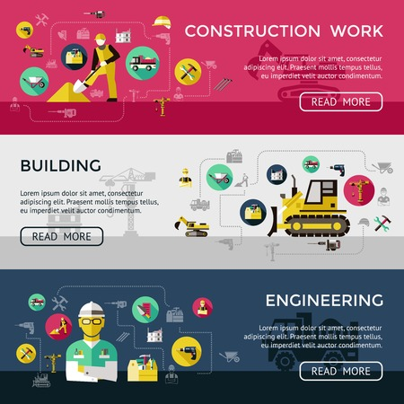 skid steer: Three horizontal construction banner set with construction work building engineering descriptions vector illustration Illustration