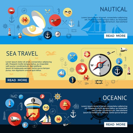 oceanic: Three horizontal colored and isolated nautical banner set with sea travel oceanic descriptions vector illustration Illustration
