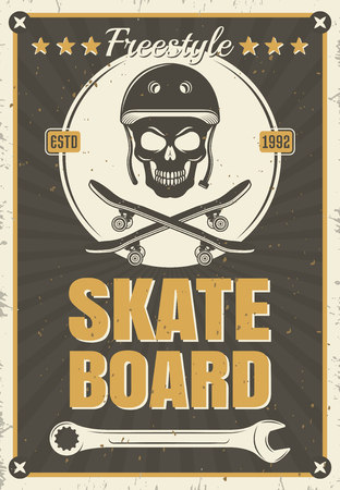 textural: Skateboard vintage poster of skull equipment in white round on black textural background with stains vector illustration