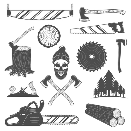 woodcutter: Lumberjack monochrome elements set with working tools round timber spruce forest emblem of woodcutter isolated vector illustration