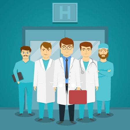 glass doors: Group of medical specialists in hospital with leading doctor on background of glass doors vector illustration Illustration