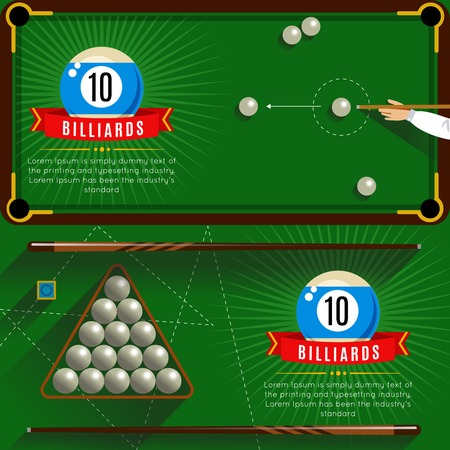 game of pool: Two horizontal play billiards realistic compositions with red ribbons and 3d pool game vector illustration