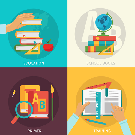 colored school: Four square colored school books icon set with descriptions of education school books primer and training vector illustration Illustration