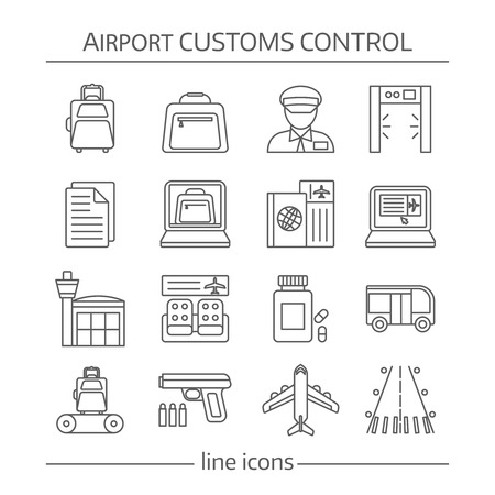 airport customs: Airport customs control linear icons with luggage and documents security system waiting hall transportation  isolated vector illustration
