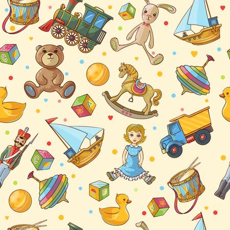 Kinder Spielzeug nahtlose Muster mit isolierten farbigen verschiedenen Spielzeug Symbol auf hellgelbem Hintergrund Vektor-Illustration gesetzt