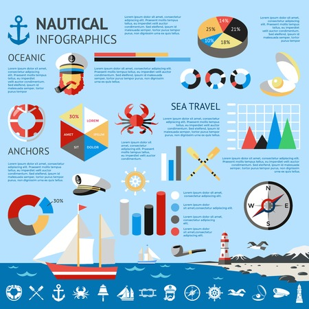 percentages: Nautical colored infographic with oceanic sea travel anchors descriptions and percentages vector illustration Illustration
