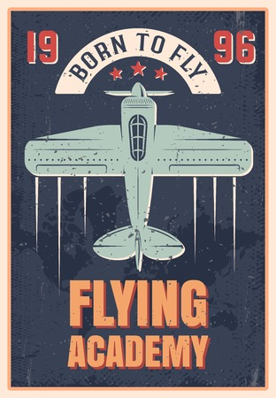 textural: Flying academy retro style poster of blue airplane with propeller on black textural background vector illustration
