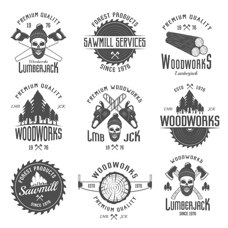 forest products: Lumberjack black white emblems with equipment forest products skull in hat with beard isolated vector illustration