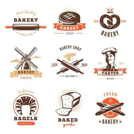 baked goods: Bakery shop emblem set with best bakery shop baked goods descriptions par example vector illustration