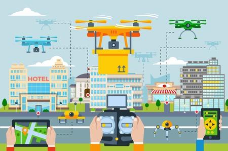 Big city Moderne technologieën concept met mensen uit de lancering van drones door verschillende toepassingen op een apparaat vector illustratie