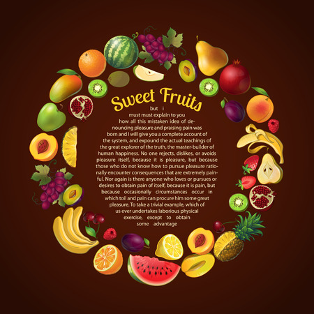 bid: Fruits round composition with isolated icon set combined in bid circle and space for text vector illustration