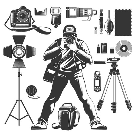 snapshot: Black vintage photographer icon set with man and equipments elements for work vector illustration Illustration