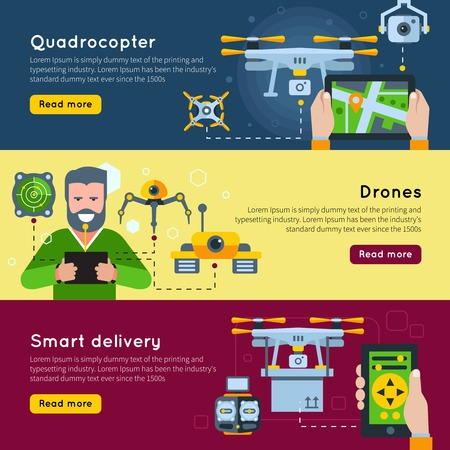 new technologies: Three horizontal new technologies banner set on quadrocopter drones and smart delivery themes vector illustration Illustration