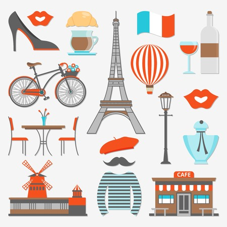 distinctive: Paris icon set distinctive features of the city and the country as a whole vector illustration
