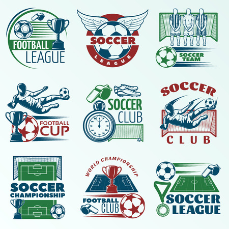 arbitros: Soccer colored emblems with players sports equipment trophies referees objects on pale blue background isolated vector illustration