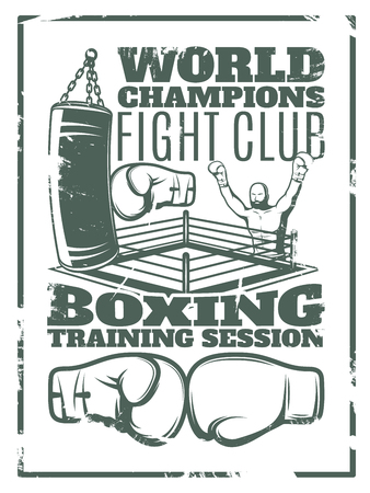 worn: Boxing monochrome worn print with fighter punching bag ring and gloves on white background vector illustration Illustration